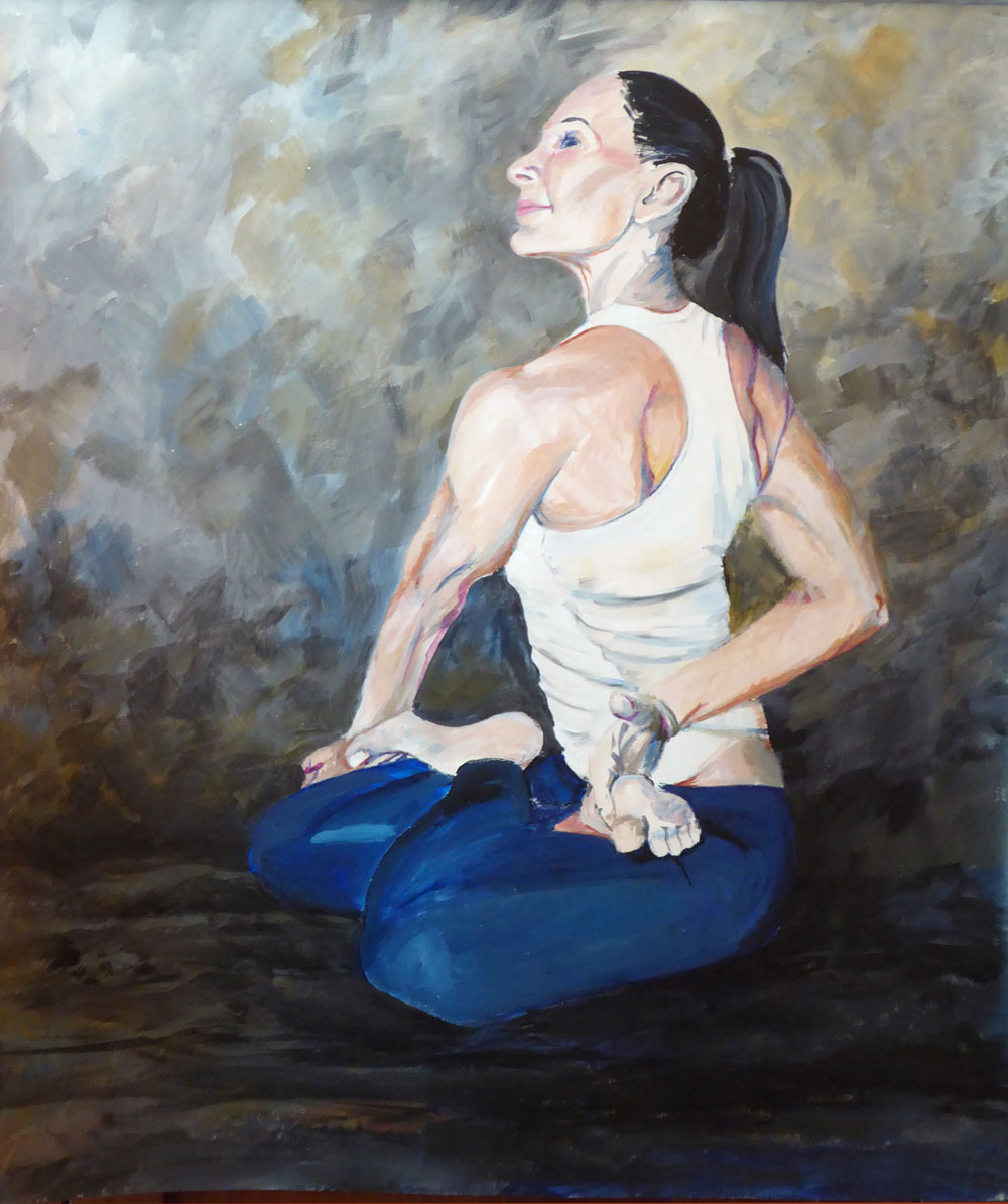 "The Yoga Portraits are hand painted original portrait on artist canvas. Great care is taken not only to capture likeness but also to express the light within every painting subject. This image, KB Lotus Twist, is 25"" W x 29"" H and is available for sale.  I welcome commissions to create unique, personalized artwork."
