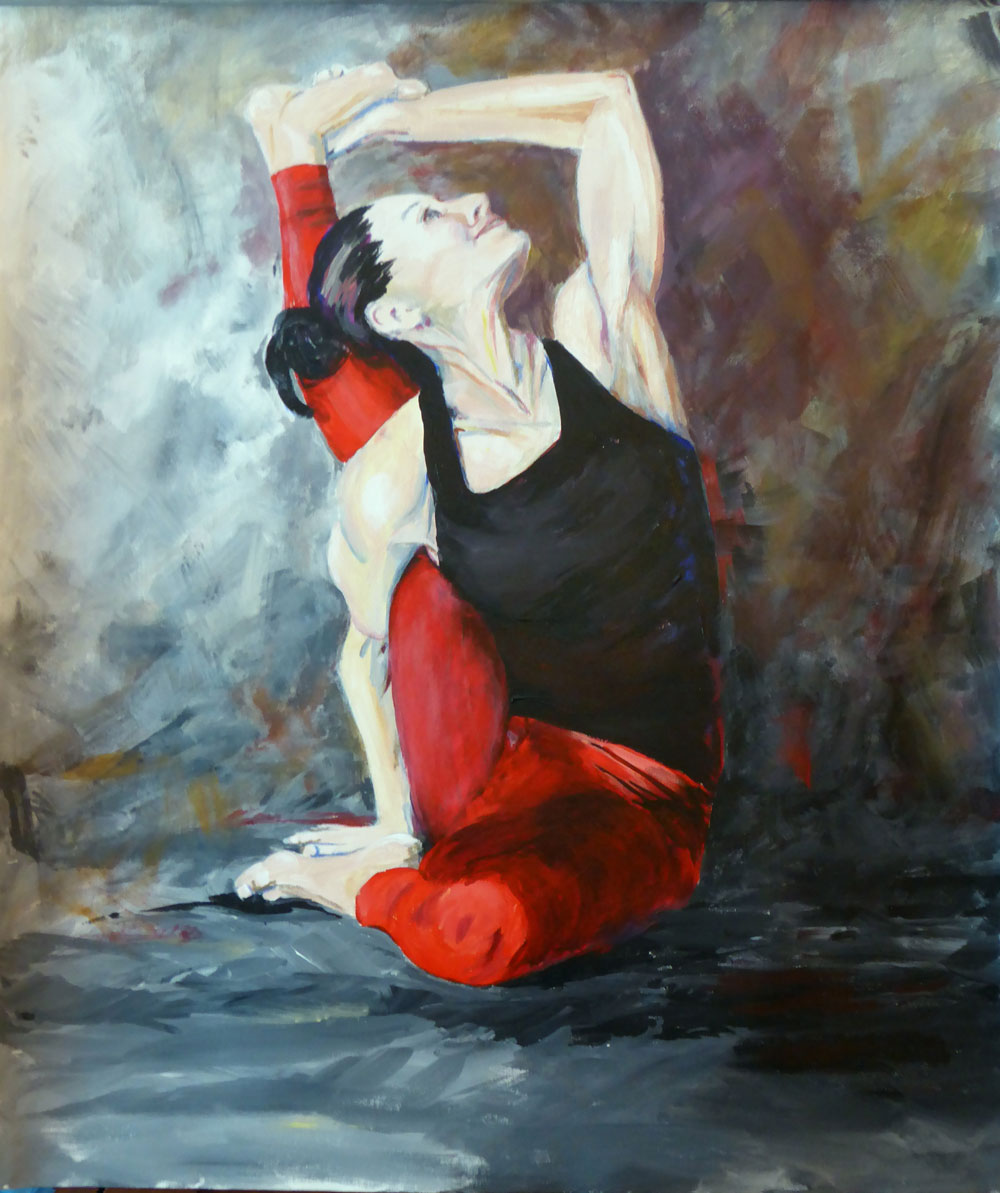"The Yoga Portraits are hand painted original portrait on artist canvas. Great care is taken not only to capture likeness but also to express the light within every painting subject. This image, KB Compass Pose, is 25"" W x 29"" H and is available for sale.  I welcome commissions to create unique, personalized artwork."
