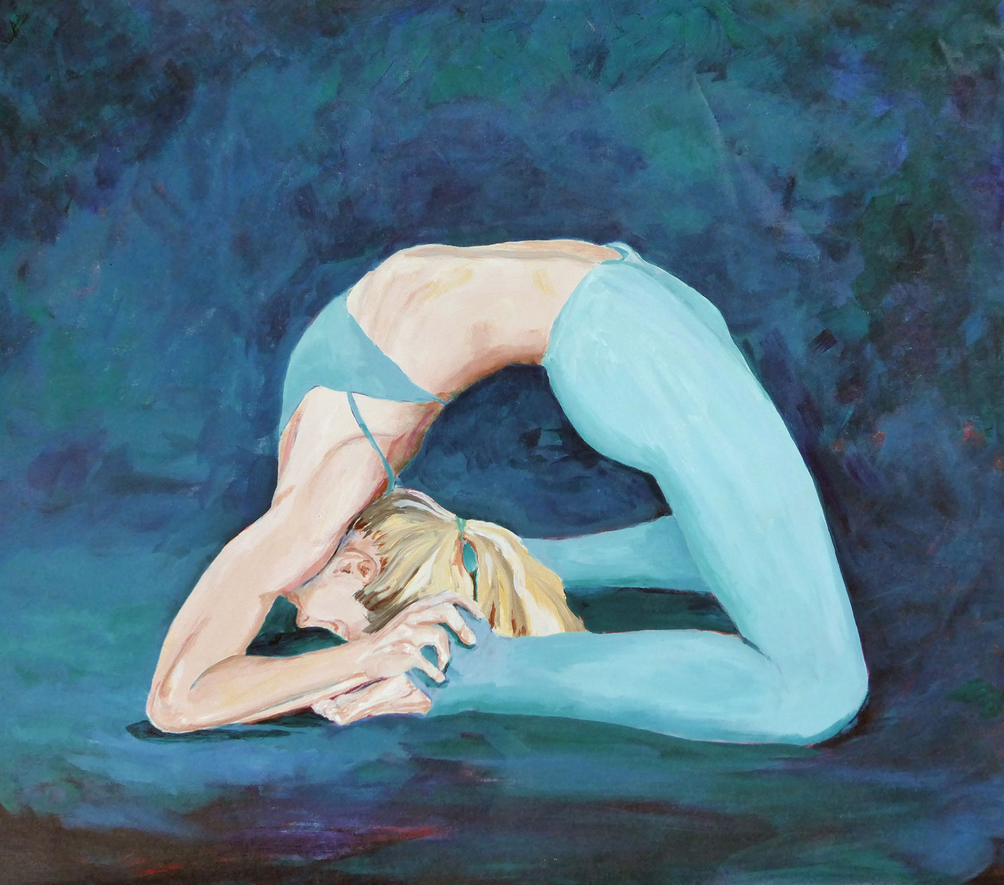 "The Yoga Portraits are hand painted original portrait on artist canvas. Great care is taken not only to capture likeness but also to express the light within every painting subject. This image, SG Kapotasana, is 29"" W x 25"" H and is available for sale.  I welcome commissions to create unique, personalized artwork."
