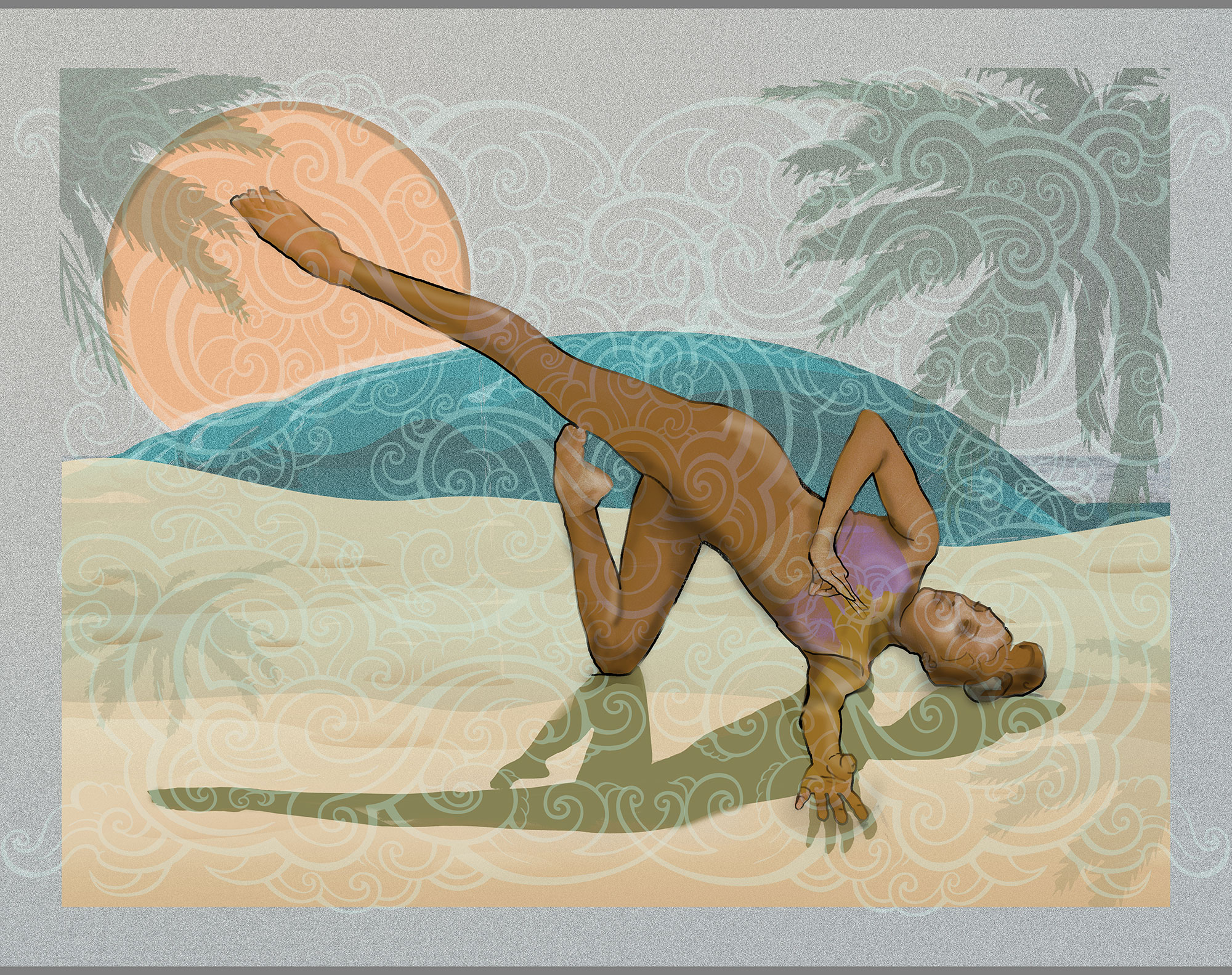 Fallen Angel Variation was inspired by glancing at my yoga instructor, Victoria, during practice. For several weeks I'd been sketching, searching for an inspirational pose for my next painting. I found myself in a slightly wobbly, twisted position gazing under my arm at Victoria who looked graceful and serene in this pose. The beach is the backdrop for this painting because for me, it is a place of serenity. I often take long walks along Juno and Jupiter Beaches when I need time to reflect and be in nature. Fallen Angel Variation is 48″ wide by 38″ high.