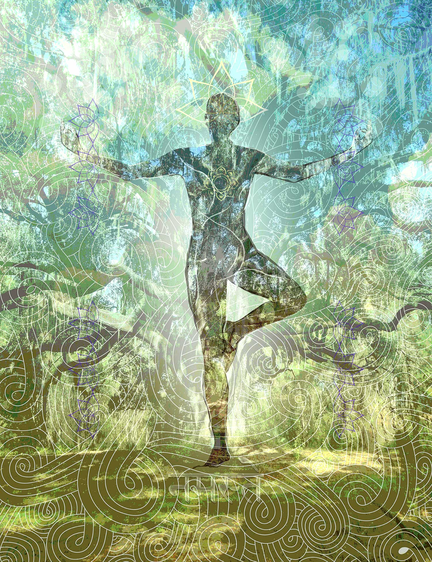 The Ancient Oak Tree Pose scroll is a Yoga Expression and was inspired by an ancient oak in San Felasco State Park, Florida.