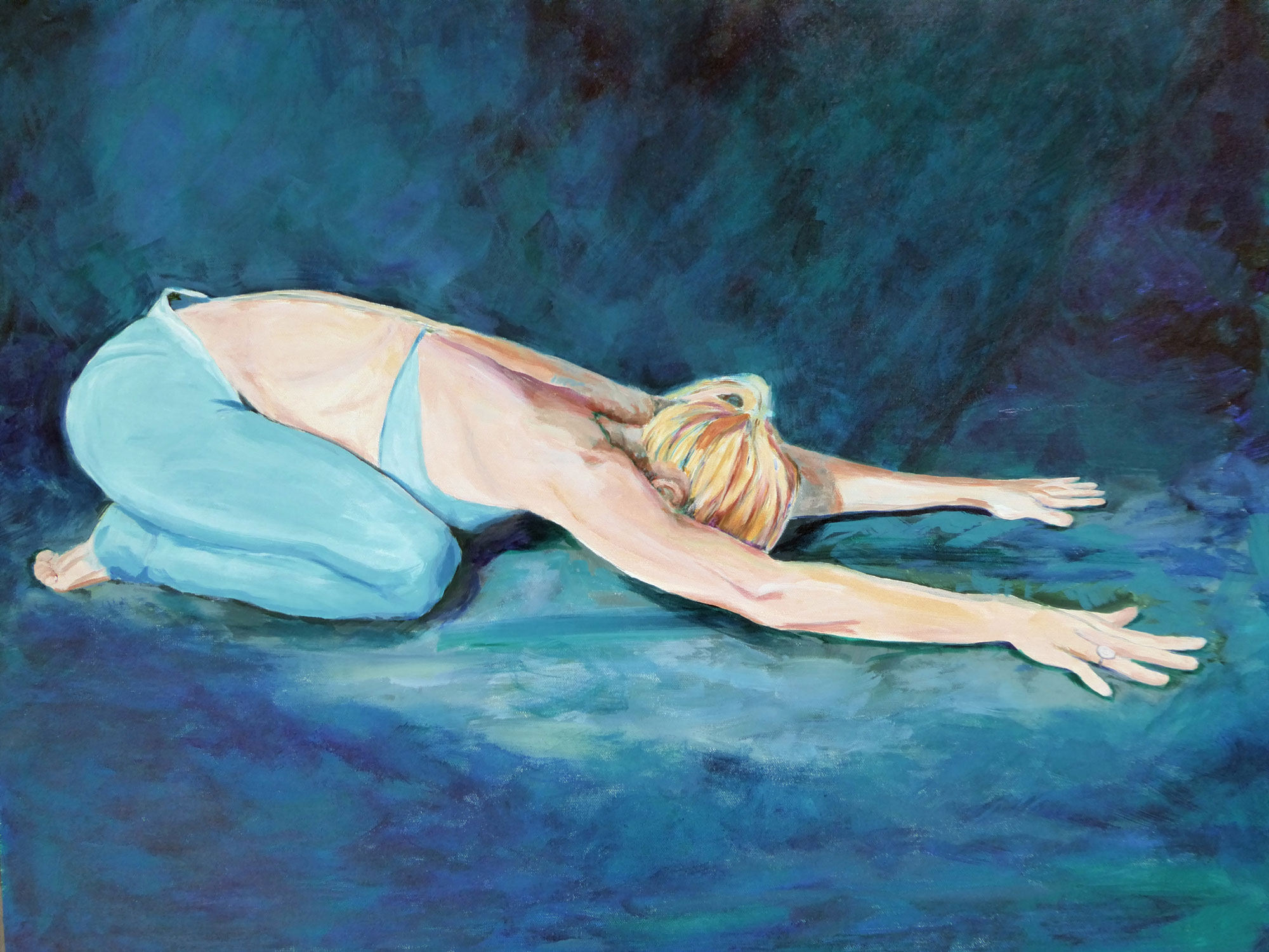 "The Yoga Portraits are hand painted original portrait on artist canvas. Great care is taken not only to capture likeness but also to express the light within every painting subject. This image, SG Child Pose, is 29"" W x 25"" H and is available for sale.  I welcome commissions to create unique, personalized artwork."